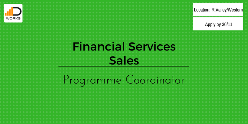 Applications for financial services sales programme coordinator job vacancy