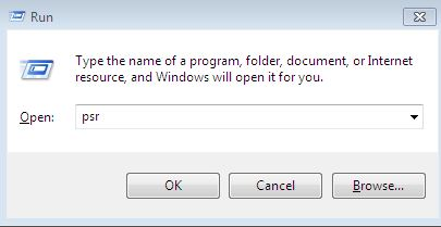 image of how to open psr problem steps recorder on Windows 7