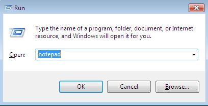 image of how to open notepad