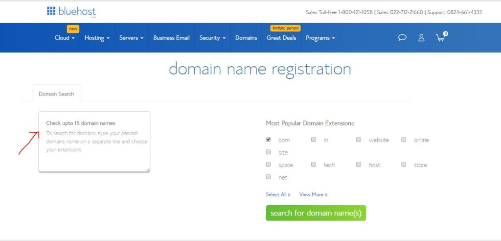 Bluehost Domain Search page