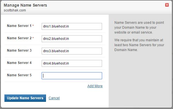 Manage Name Servers Dialog Box