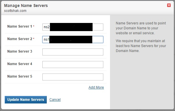 replacing name servers on manage name servers box