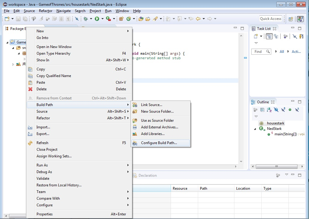 Build Path option on Eclipse Project