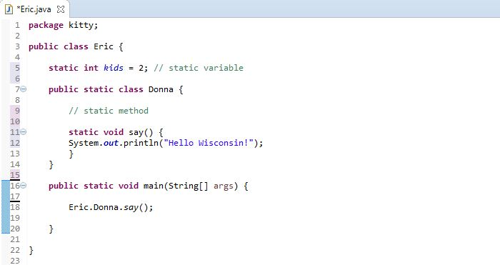 image for calling a static method