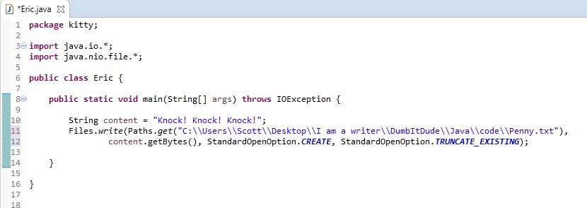 Using Files write and Paths get to write to a text file in Java