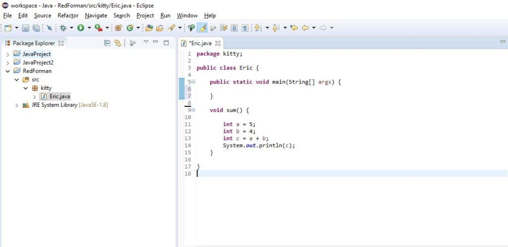 using sum method for addition of two numbers in java
