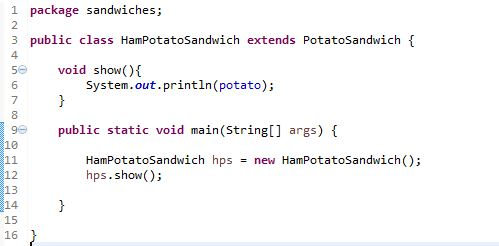 image for HamPotatoSandwich Class in Java