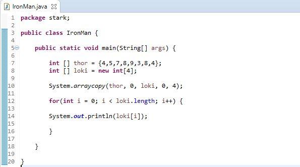 arraycopy method example to copy arrays using System Class