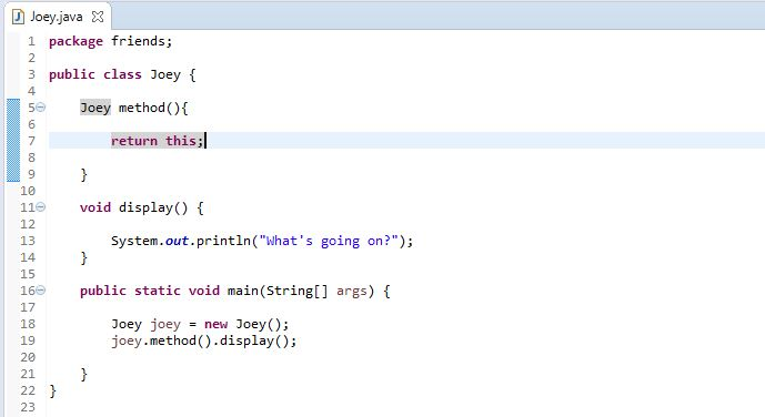 example to return this in a method in Java