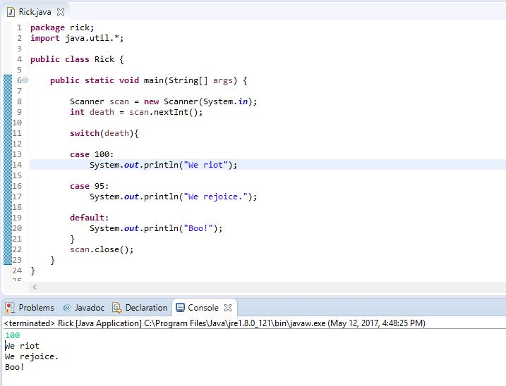 java switch case example without breaks