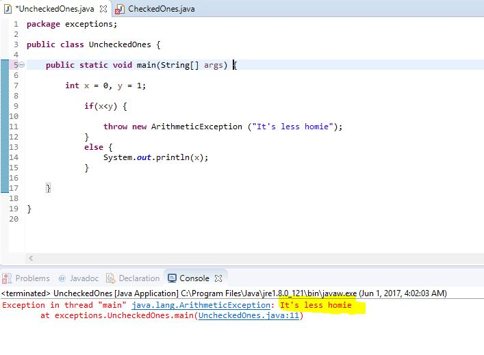 throw instantiation example