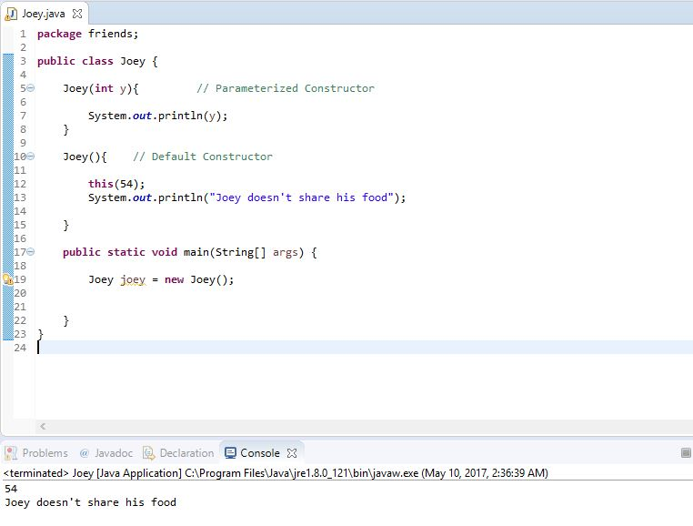 invoking a parameterized constructor from default constructor example