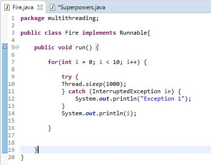 fire class with run method and for loop