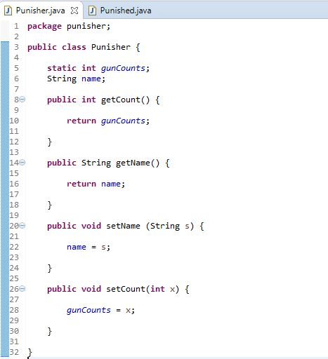 getter and setter methods in java