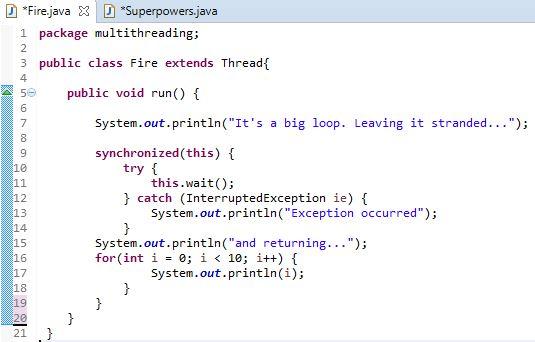 fire class run method in java