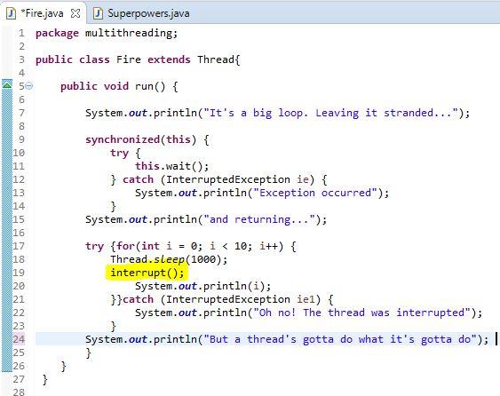 thread interrupt example in java