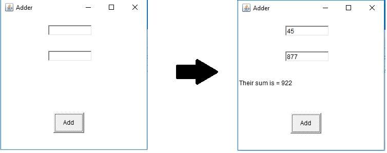 Java GUI program to add two numbers using AWT
