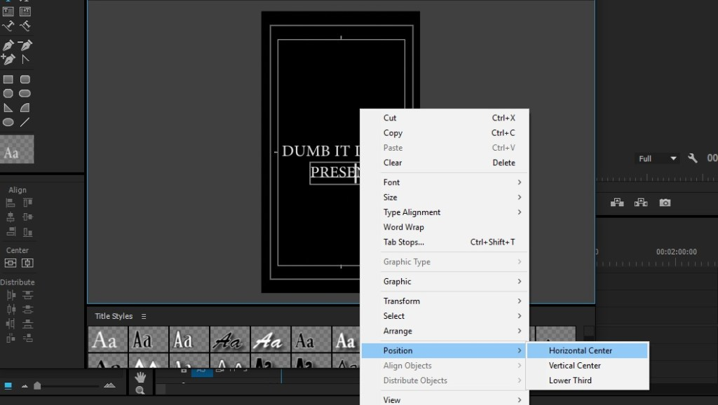 Align text in Premiere Pro