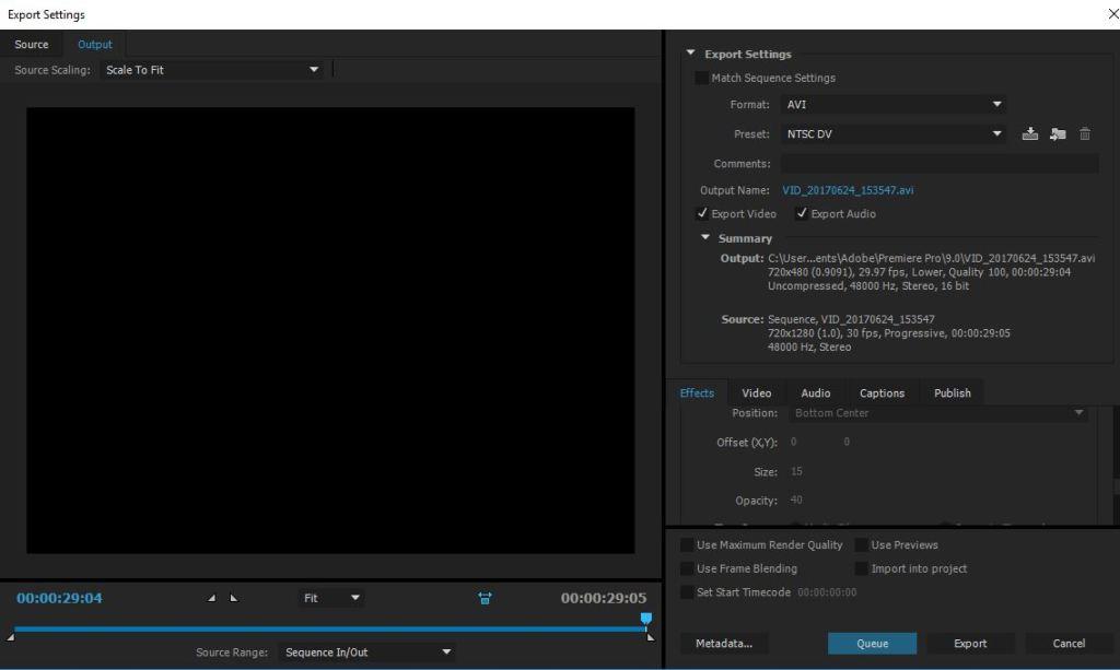 export settings dialog