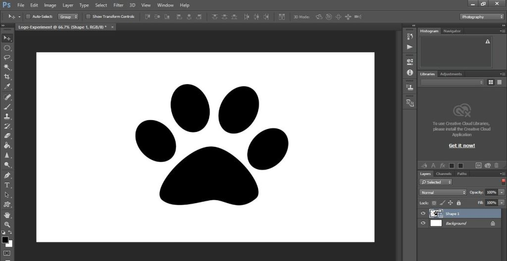 drawing cat paws shape in photoshop