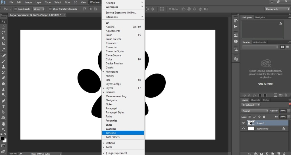 timeline option in photoshop