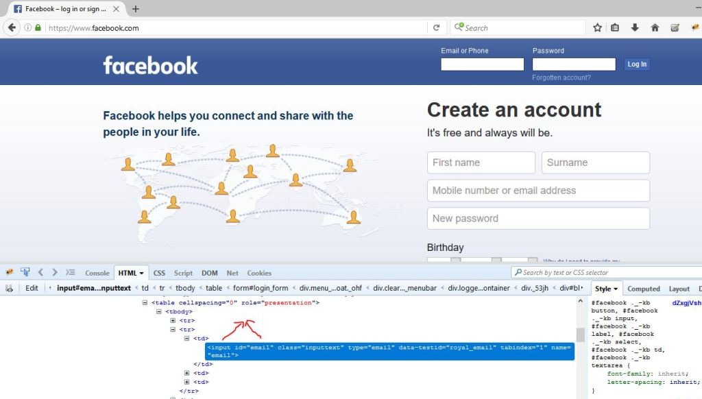 html data for Facebook