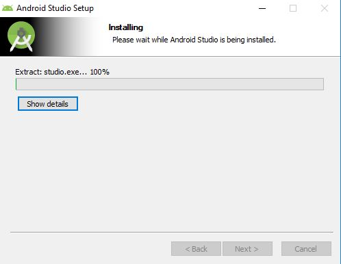 installation begins for android studio