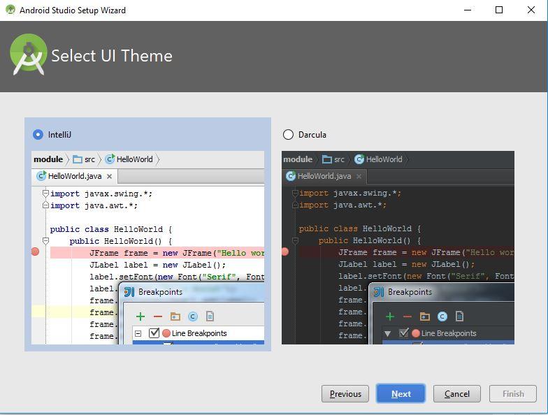 select UI Theme for Setup