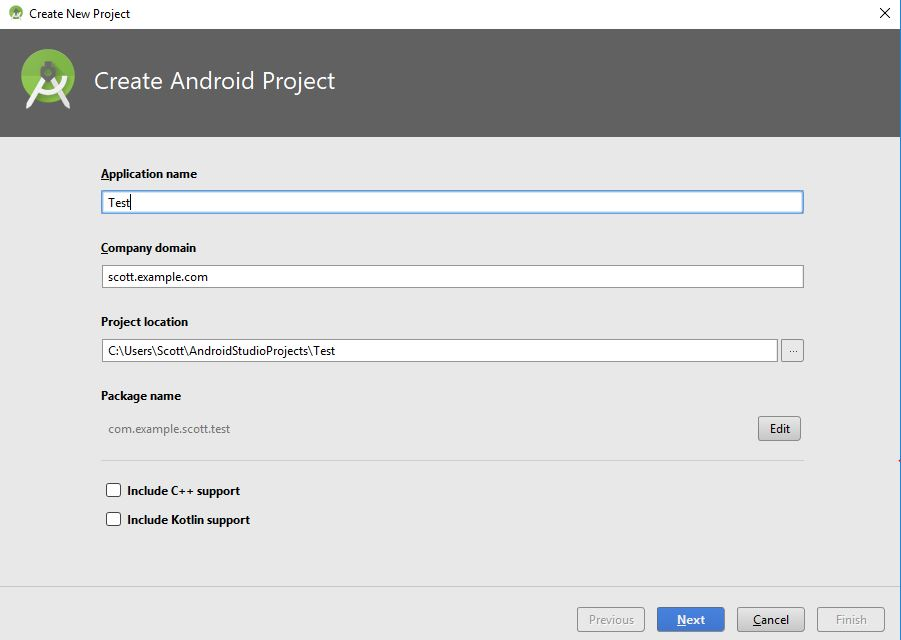 create android project dialog box