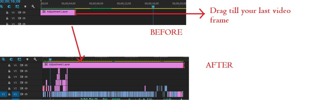 drag adjustment layer till your last video frame