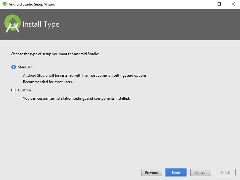 install type in android studio setup wizard