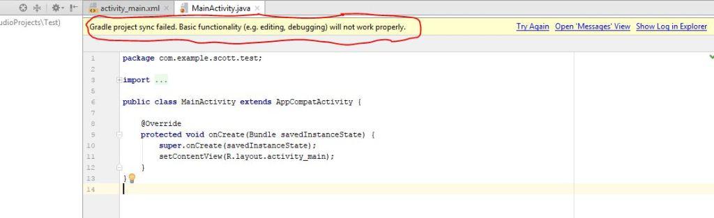 gradle project sync failed error in android studio