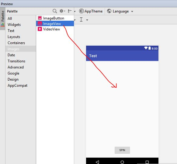 imageview drag and drop in android studio