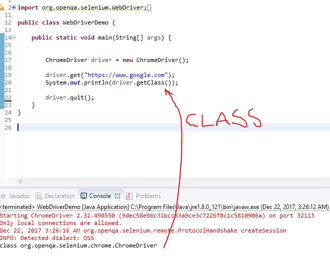 find out class name in Selenium Webdriver