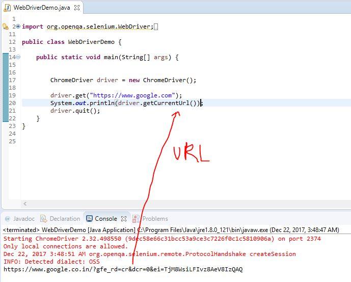 get Current URL in Selenium Webdriver