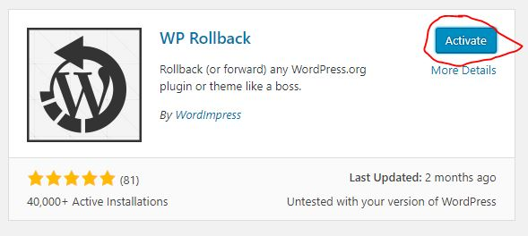 activate WP rollback plugin