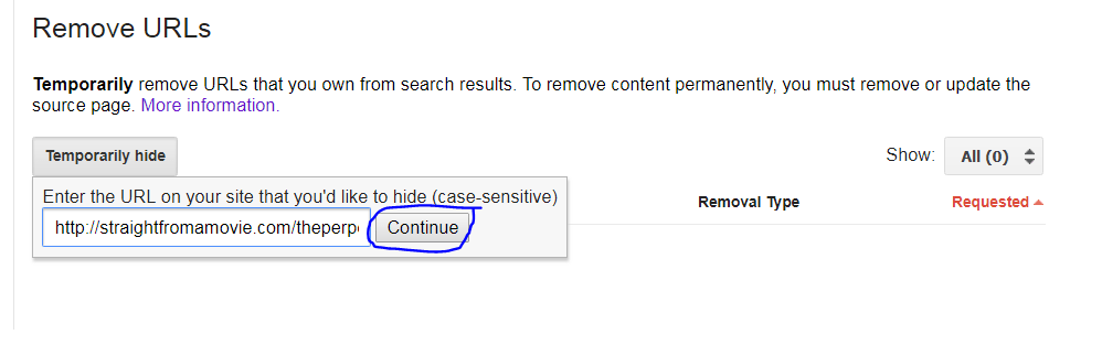 click on continue button