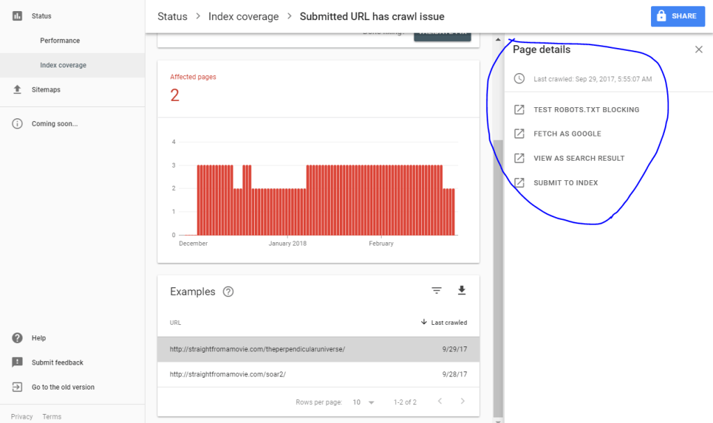page details on right side of google search console