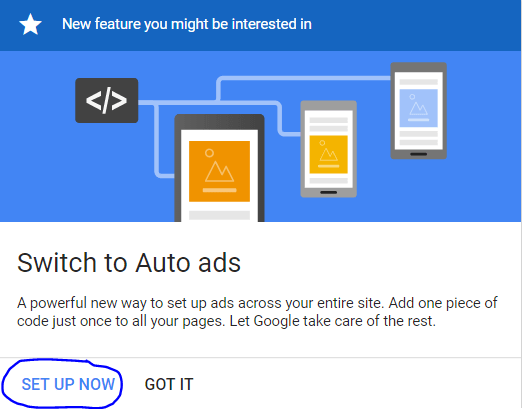 switch to auto ads message
