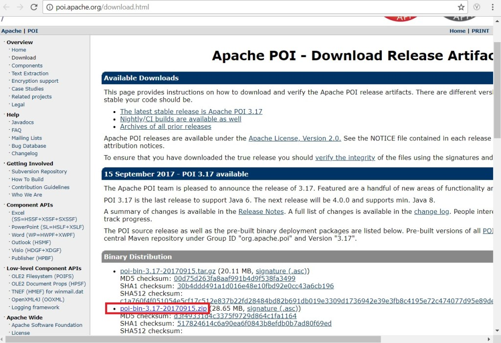 apache poi site latest jar files zip