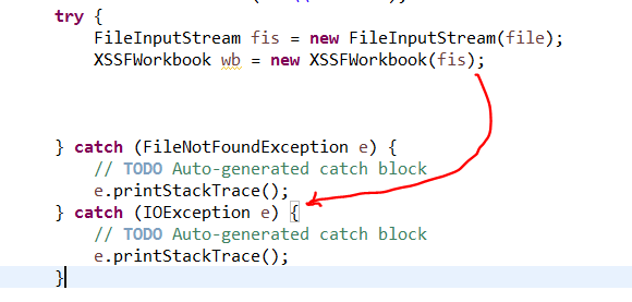 catch IOException block