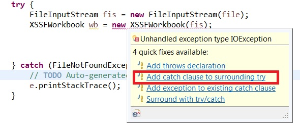 catch exception suggestion