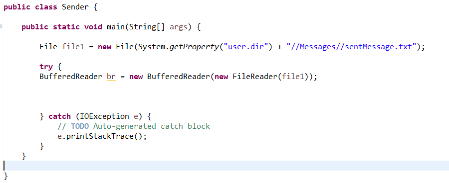 try catch around bufferedReader