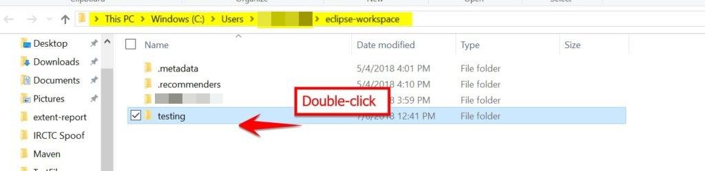 double click folder