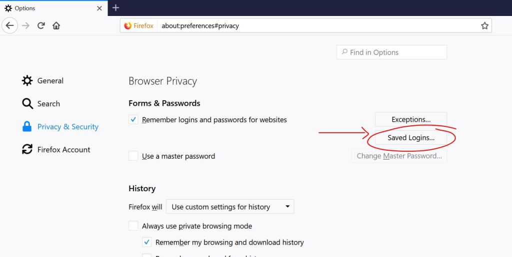 saved logins option in firefox