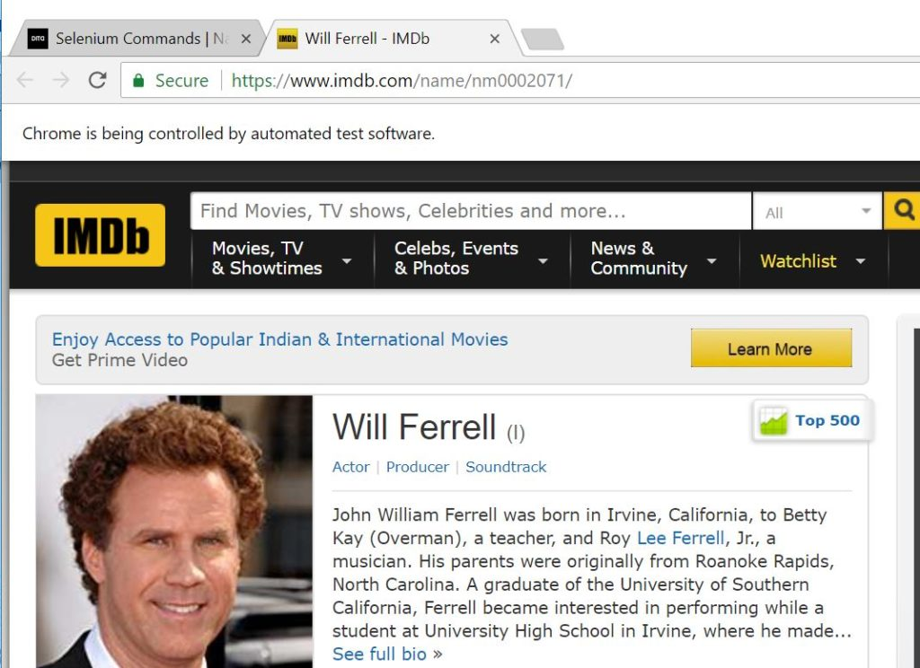 will ferrell page example for selenium window handles