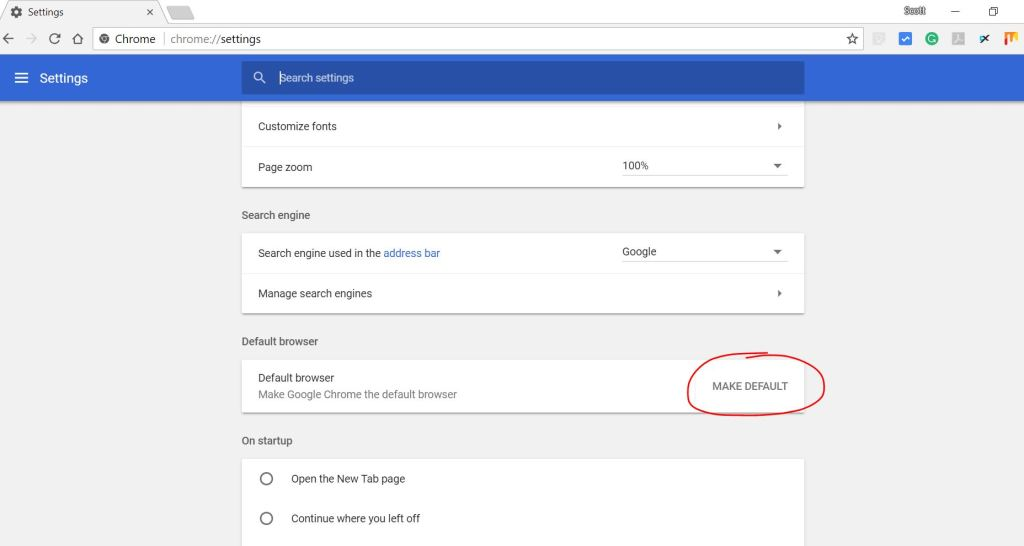 make default option in google chrome