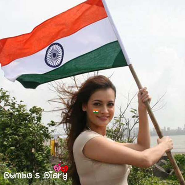 A girl with indian flag on independence day