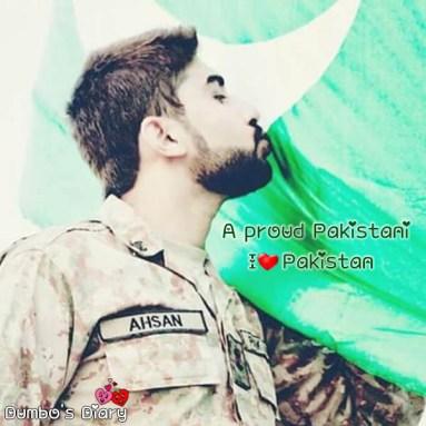 Army boy kissing pakistani flag