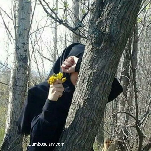 Beautiful muslim girl in jungle
